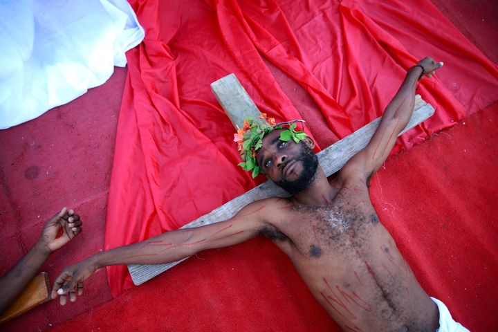 An actor depicts Jesus on Good Friday in Port-au-Prince.