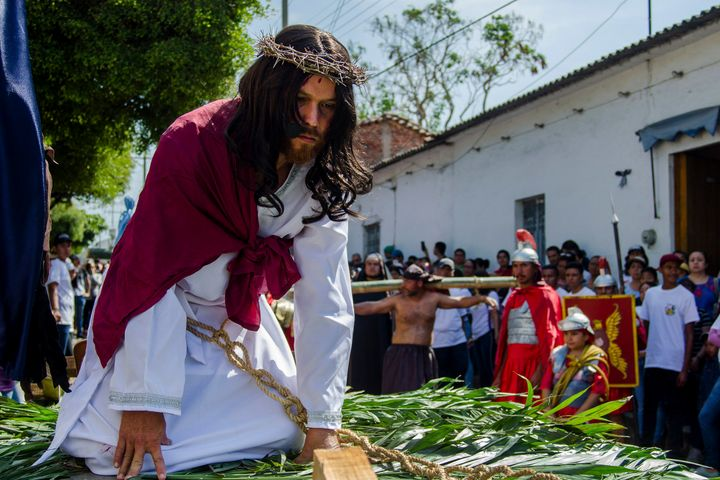 A Christian portraying Jesus recreates the Stations of the Cross during Good Friday on April 19, 2019, in Colima, Mexico.