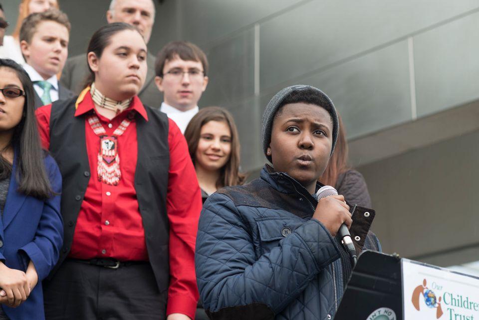 Vic Barrett speaks outside the federal court in Eugene, Oregon, in