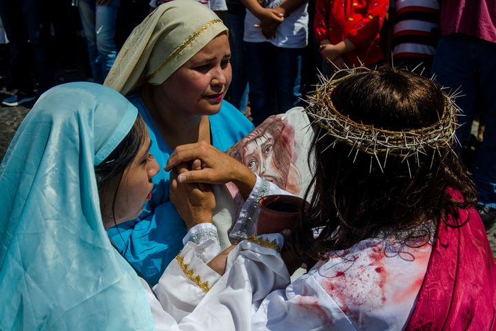 Christians act out the Stations of the Cross in Colima, Mexico.