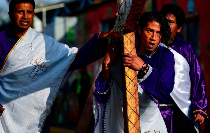 Christians recreate the Passion of Christ in the Iztapalapa neighborhood in eastern Mexico City on April 19, 2019.