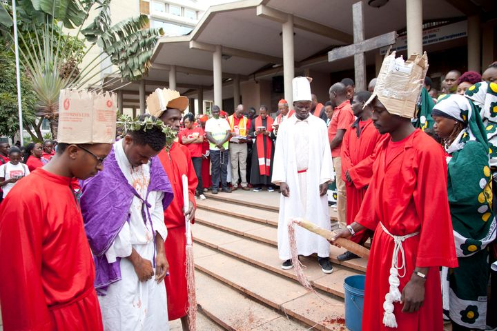 Actors perform a passion play in Nairobi on Good Friday.