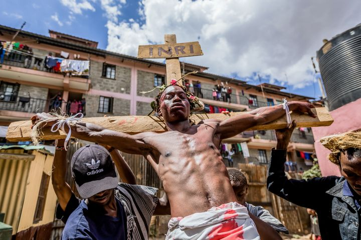 A man portrays Jesus in Kibera, Nairobi, on Good Friday.