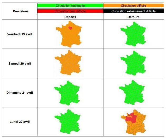Bison Futé: le trafic pour Pâques classé orange et