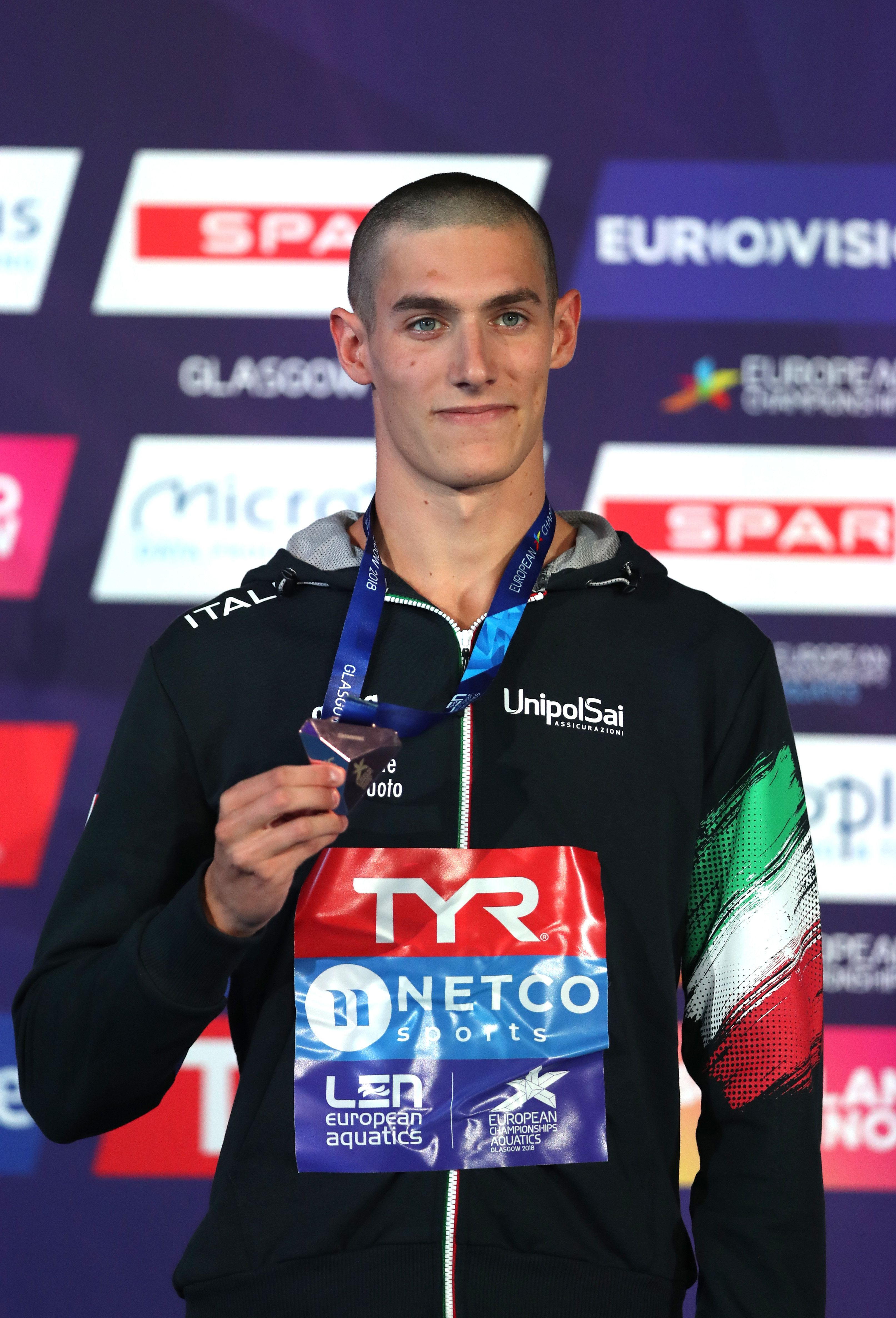 GLASGOW, SCOTLAND - AUGUST 09: Andrea Vergani of Italy poses with his Bronze medal after coming third in the Men's 50m Freestyle Final during the swimming on Day eight of the European Championships Glasgow 2018 at Tollcross International Swimming Centre on August 9, 2018 in Glasgow, Scotland.  This event forms part of the first multi-sport European Championships.  (Photo by Ian MacNicol/Getty Images)