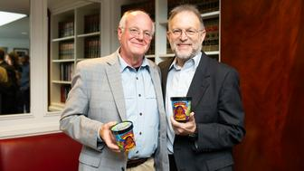 IMAGE DISTRIBUTED FOR BEN & JERRY'S - Ben Cohen and Jerry Greenfield, Co-Founders of Ben & Jerry's, help launch Pecan Resist on Tuesday, Oct. 30, 2018, in Washington. (Joy Asico/AP Images for Ben & Jerry's)
