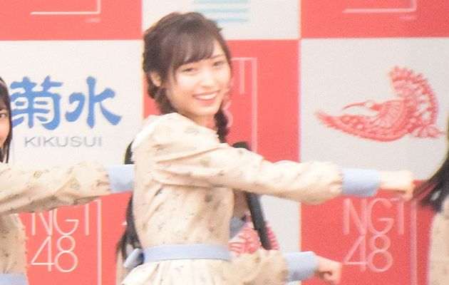 NGT48劇場2周年を記念したコンサートを行うアイドルグループ「NGT48」の山口真帆さん=2018年1月8日、新潟市内