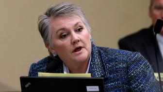 Rep. Maureen Walsh, R-Walla Walla, speaks during a committee hearing Wednesday, Feb. 20, 2013, in Olympia, Wash. (AP Photo/Elaine Thompson)