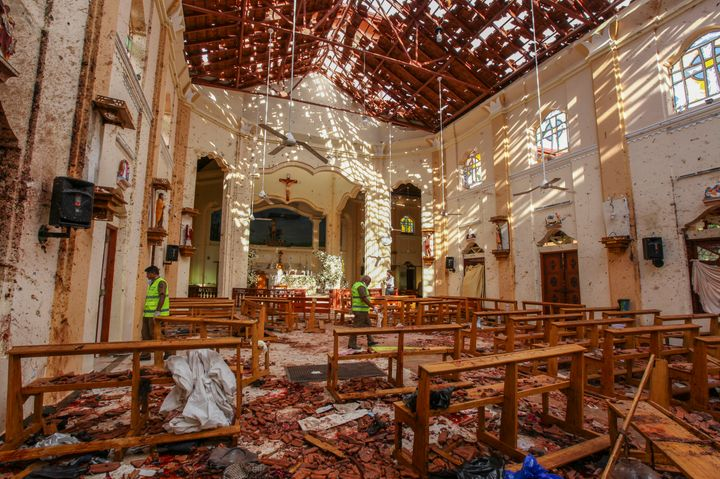 A view of St. Sebastian's Church damaged in blast in Negombo, north of Colombo, Sri Lanka, Sunday, April 21, 2019. (AP Photo/