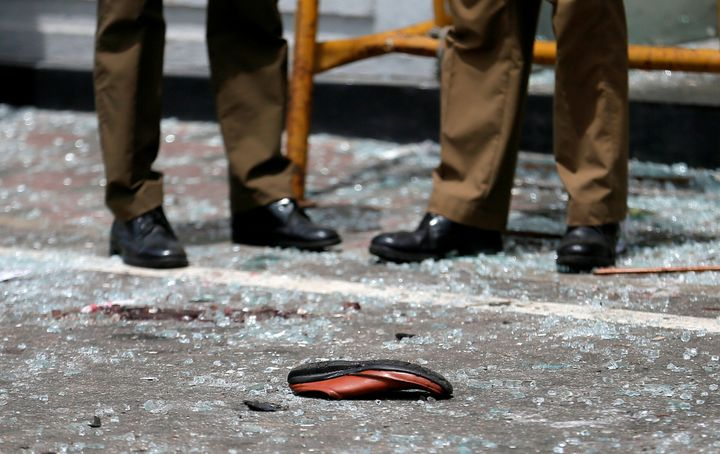 A shoe of a victim is seen in front of the St. Anthony's Shrine, Kochchikade church after an explosion in Colombo, Sri Lanka,