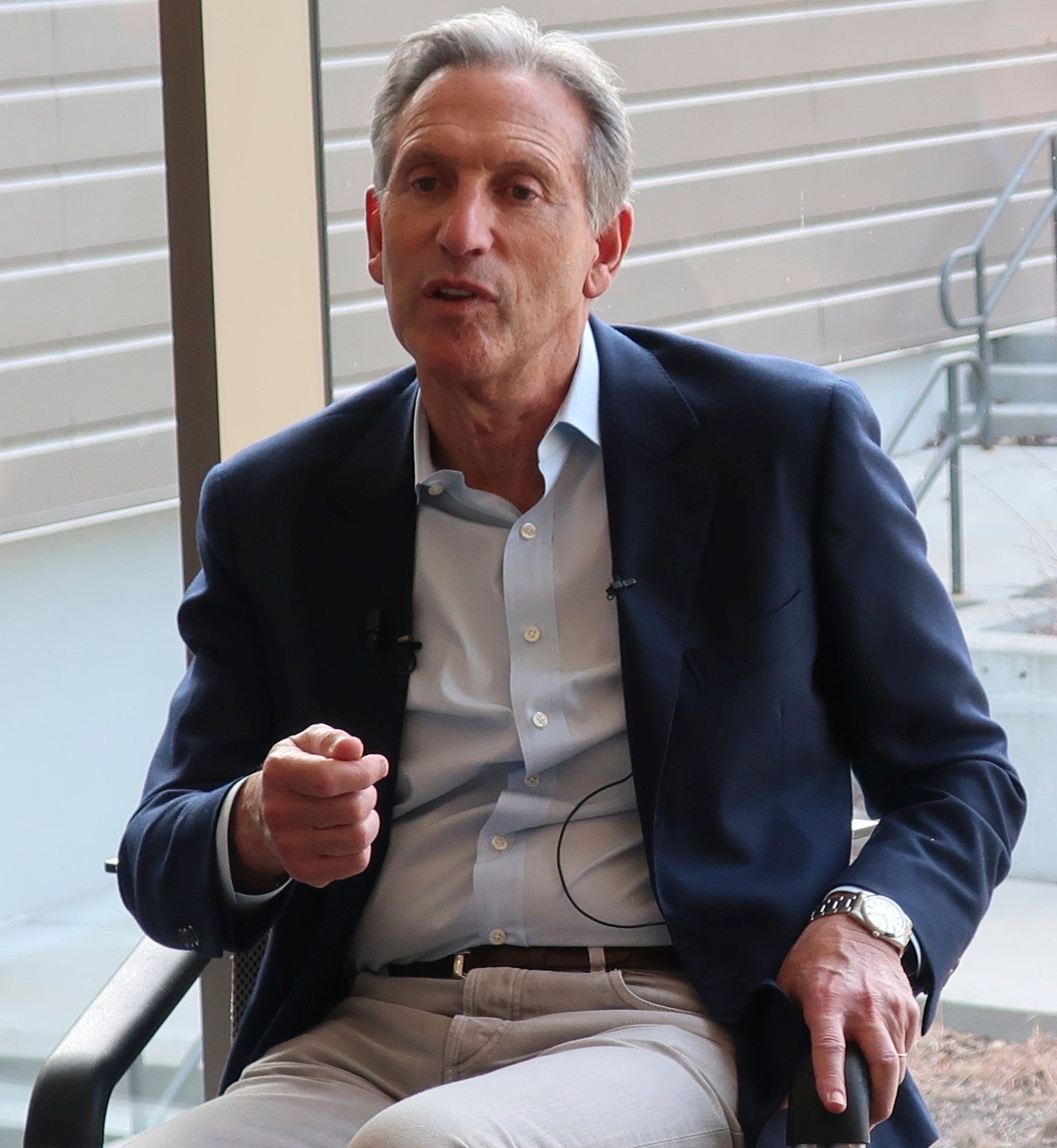 Former Starbucks CEO Howard Schultz, center, speaks about the possibility that he'll run for president as an independent candidate during a town hall meeting on the University of Kansas campus in Lawrence, Kansas. Schultz believes he would take much of his support from disaffected Republicans. (AP Photo/John Hanna)