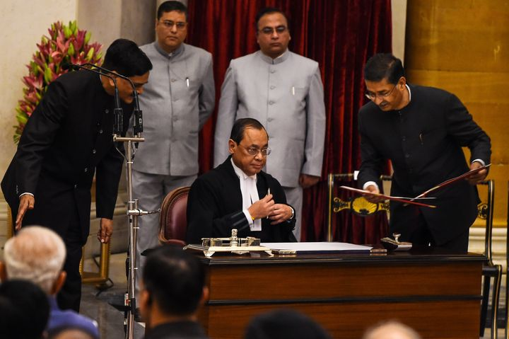 Supreme Court Justice Ranjan Gogoi at his swearing-in ceremony last year as the Chief Justice of India.