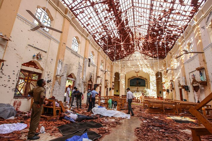 The suicide bombers attacked three hotels that were popular with foreigners and three churches, including the one above.