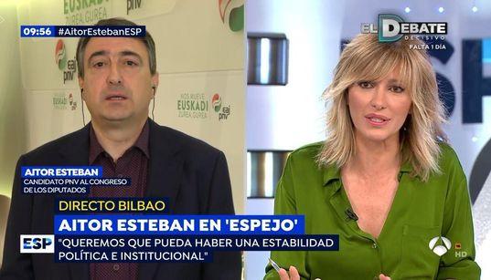 """El dardo de Aitor Esteban a Susanna Griso al terminar su entrevista: """"A mí me ha tratado de"""