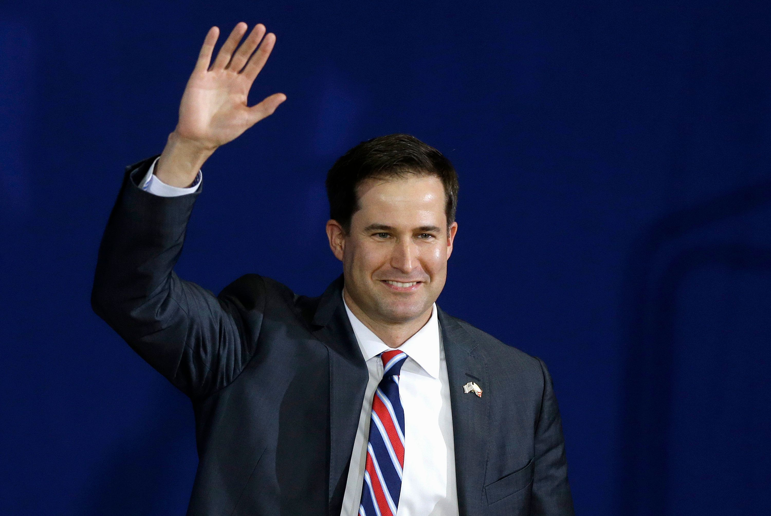 FILE - In this Oct. 29, 2014 file photo, then-Massachusetts Democratic Congressional candidate, now Rep.-elect Seth Moulton, waves as he arrives at a campaign event in Lynn, Mass. (AP Photo/Steven Senne, File)