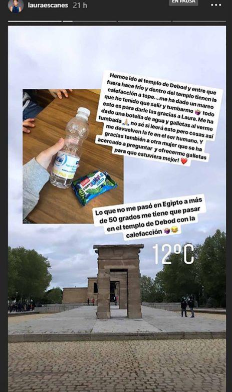 Laura Escanes explica el problema de salud que sufrió en su visita al templo de Debod de Madrid: