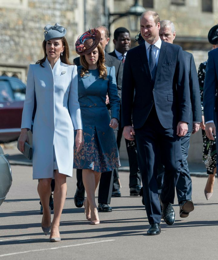 The Duke and Duchess of Cambridge walk without Prince Harry.