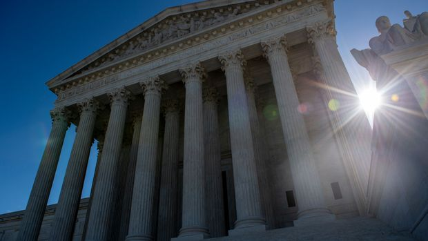 The United states Supreme Court is seen on April 15, 2019 in Washington DC. - The US Supreme Court takes up Monday the government's refusal to register a trademark by a clothing line named 'Fuct,' and arguments should be, well, salty. The case pits a provision of US trademark law that allows the government to deny requests on the basis of 'immoral' or 'scandalous' words against the bedrock principles of free speech enshrined in the Constitution. It all started with provocateur, artist and designer Erik Brunetti, who founded the streetwear brand in 1990. It rhymes with plucked.Under the label, he has since freely sold clothing with anti-religious, anti-government slogans and motifs, often parodying pop culture. (Photo by Eric BARADAT / AFP)        (Photo credit should read ERIC BARADAT/AFP/Getty Images)