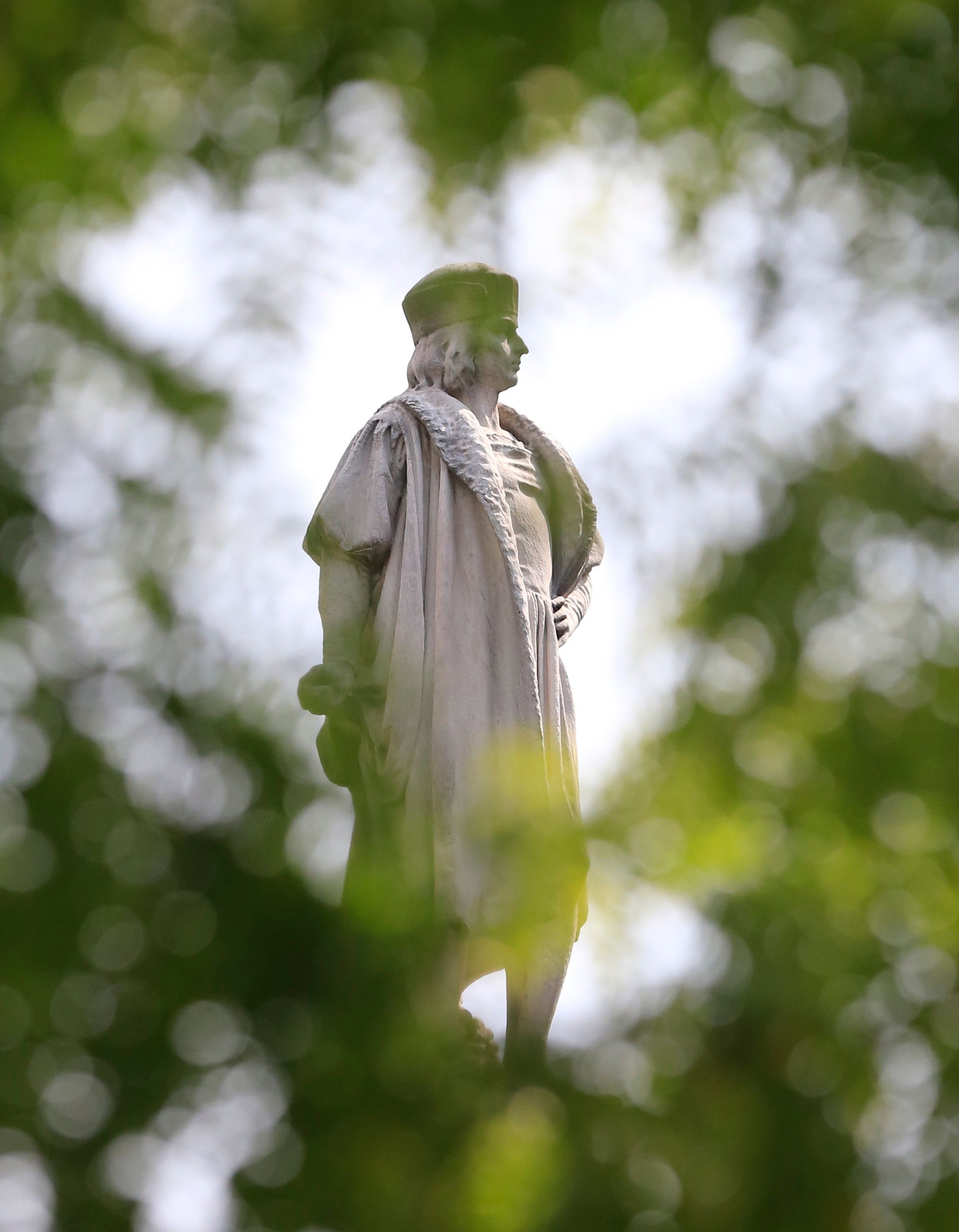 The Christopher Columbus statue is shown at Manhattan's Columbus Circle, Sunday Aug. 27, 2017, in New York. (AP Photo/Bebeto Matthews)