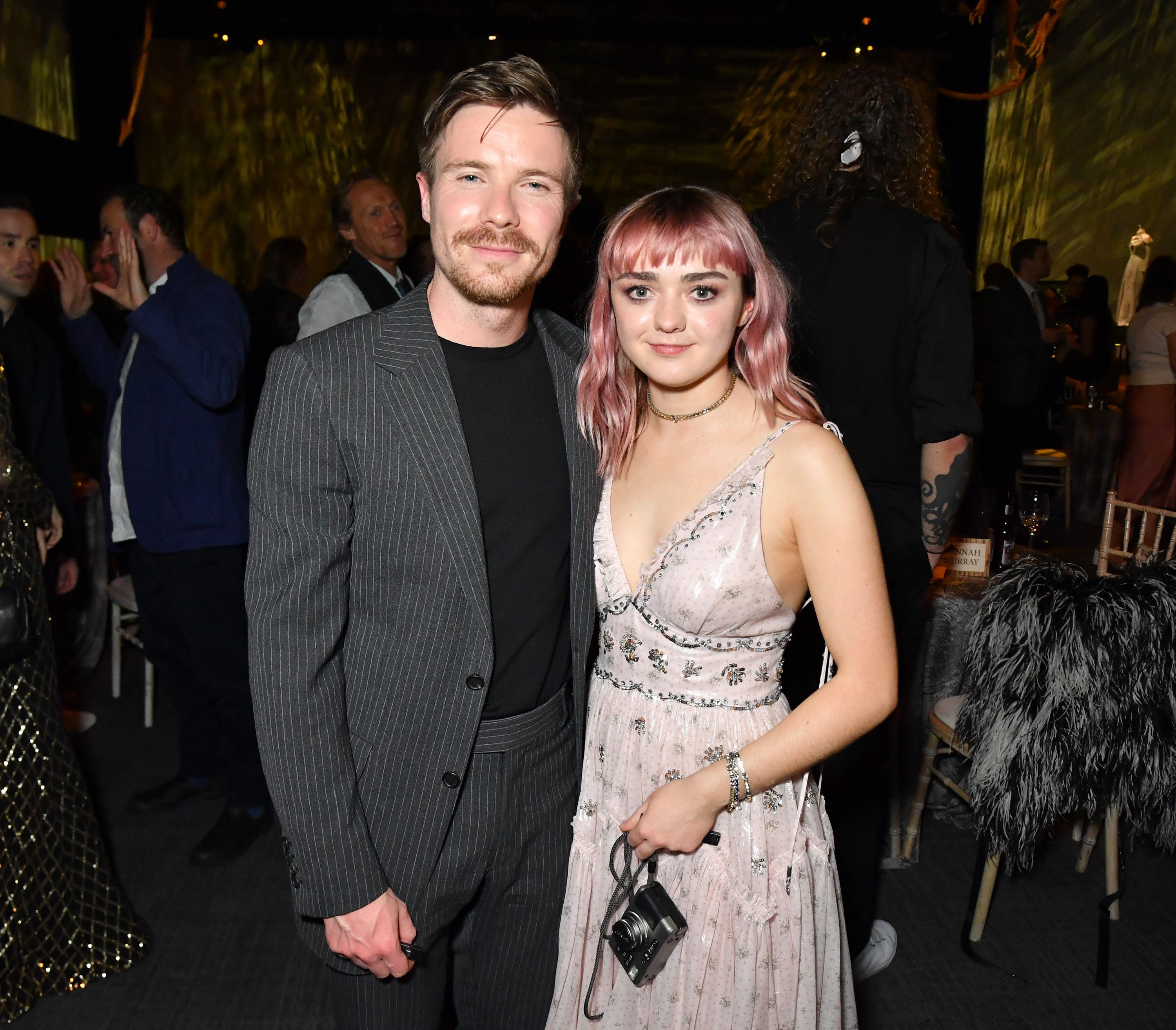 "Joe Dempsie and Maisie Williams at the ""Game of Thrones"" final season premiere in Belfast,..."