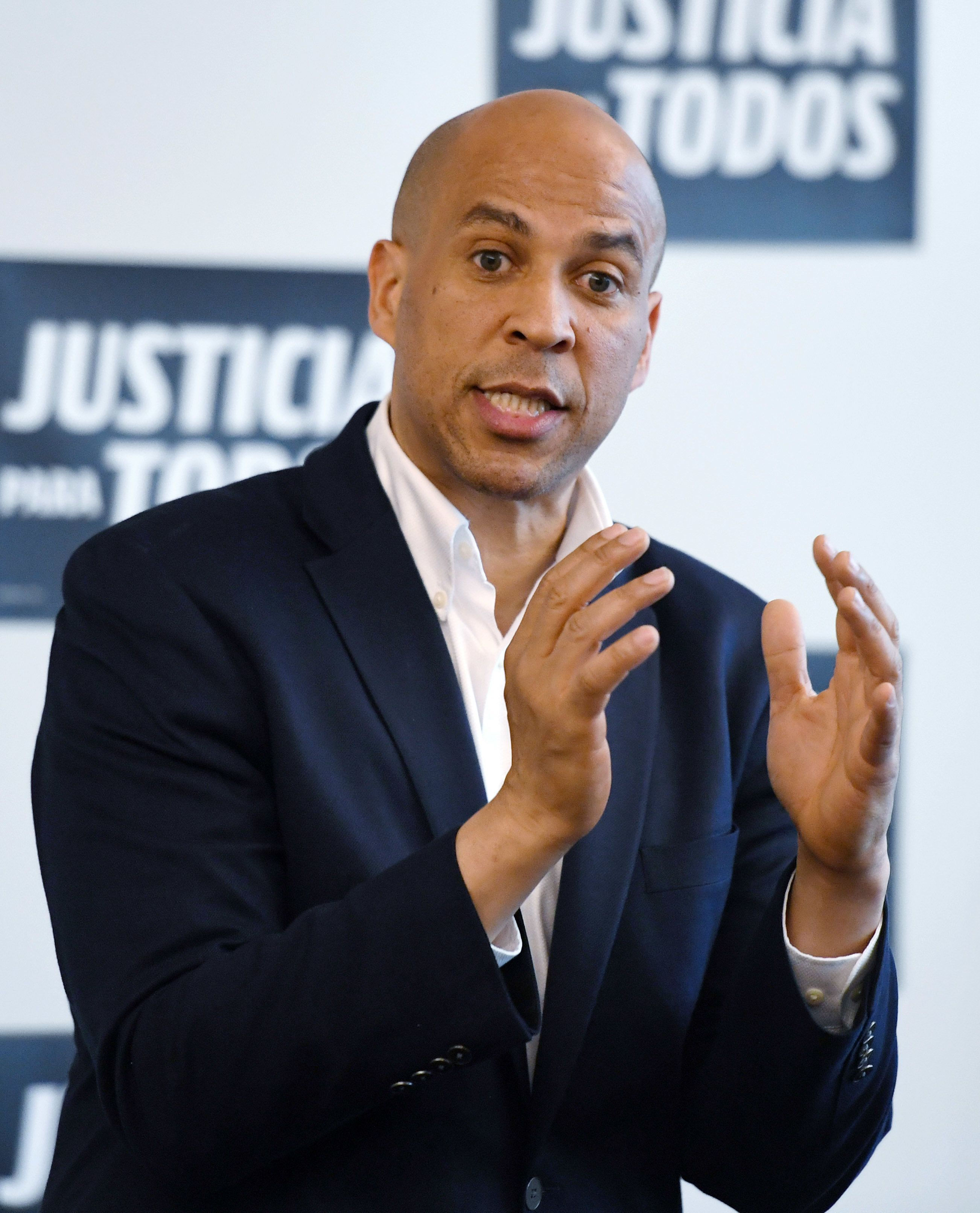 LAS VEGAS, NEVADA - APRIL 18:  U.S. Sen. Cory Booker (D-NJ) speaks during a meet-and-greet with Young Democrats of UNLV as part of his 'Justice For All' tour at UNLV on April 18, 2019 in Las Vegas, Nevada. Booker is campaigning for the 2020 Democratic nomination for president.  (Photo by Ethan Miller/Getty Images)