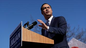 "FILE - In this Saturday, Jan. 12, 2019, file photo, former San Antonio Mayor and Housing and Urban Development Secretary Julian Castro speaks during an event where he announced his decision to seek the 2020 Democratic presidential nomination, in San Antonio. Castro launched his campaign by pledging support for ""Medicare for All,"" free universal preschool, a large public investment in renewable energy and two years of free college for all Americans. (AP Photo/Eric Gay, File)"