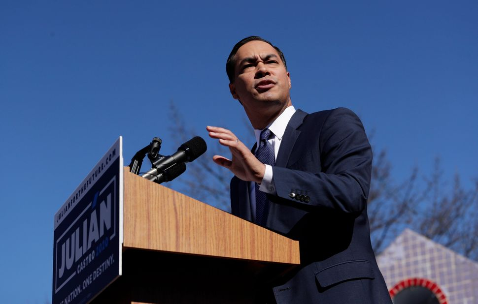 Julián Castro speaks at his presidential campaign launch in San Antonio on Jan. 12, 2019. He promised to tackle housin