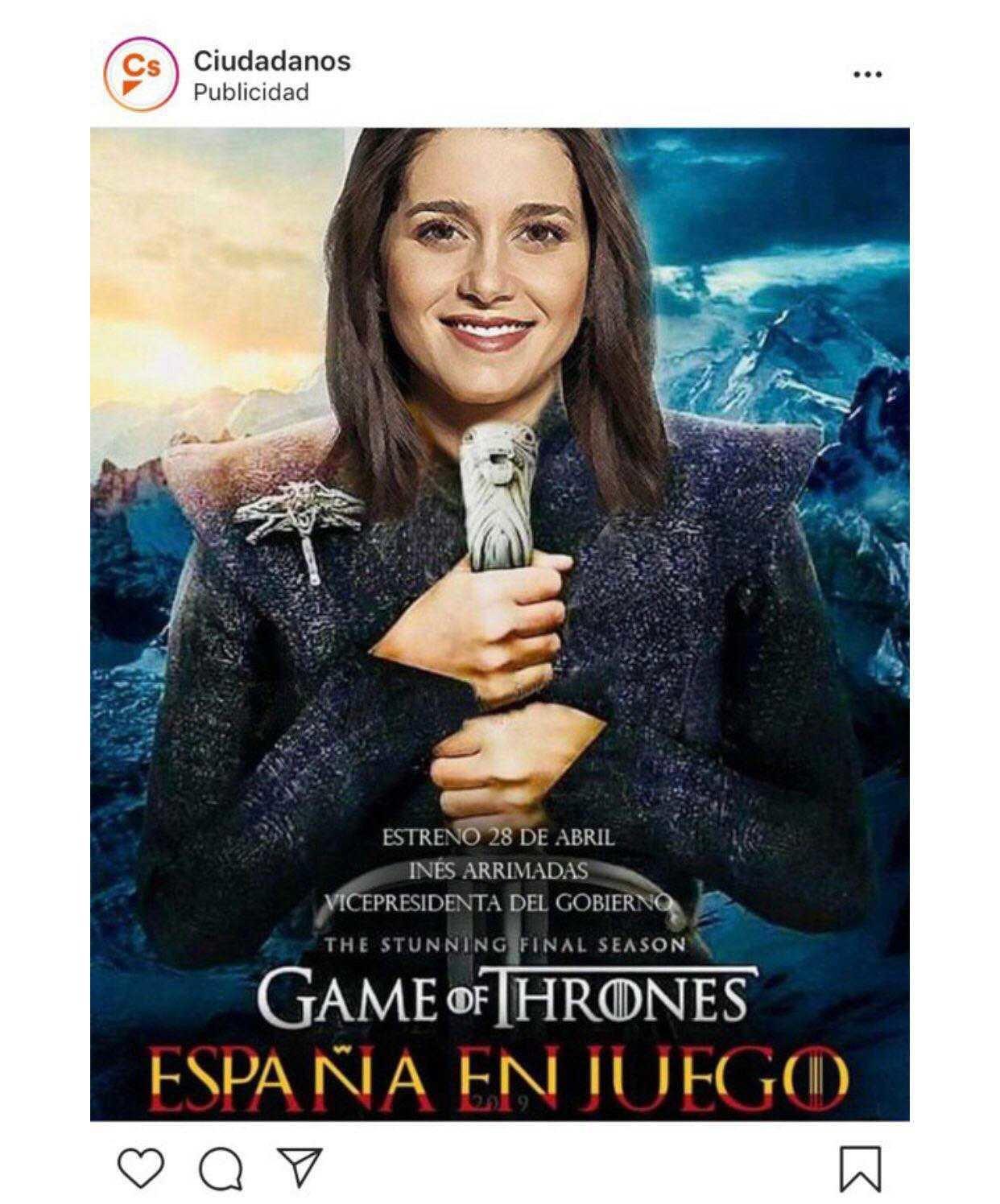 Ciudadanos convierte a Inés Arrimadas en Khaleesi, de 'Juego de tronos', pero sin permiso de