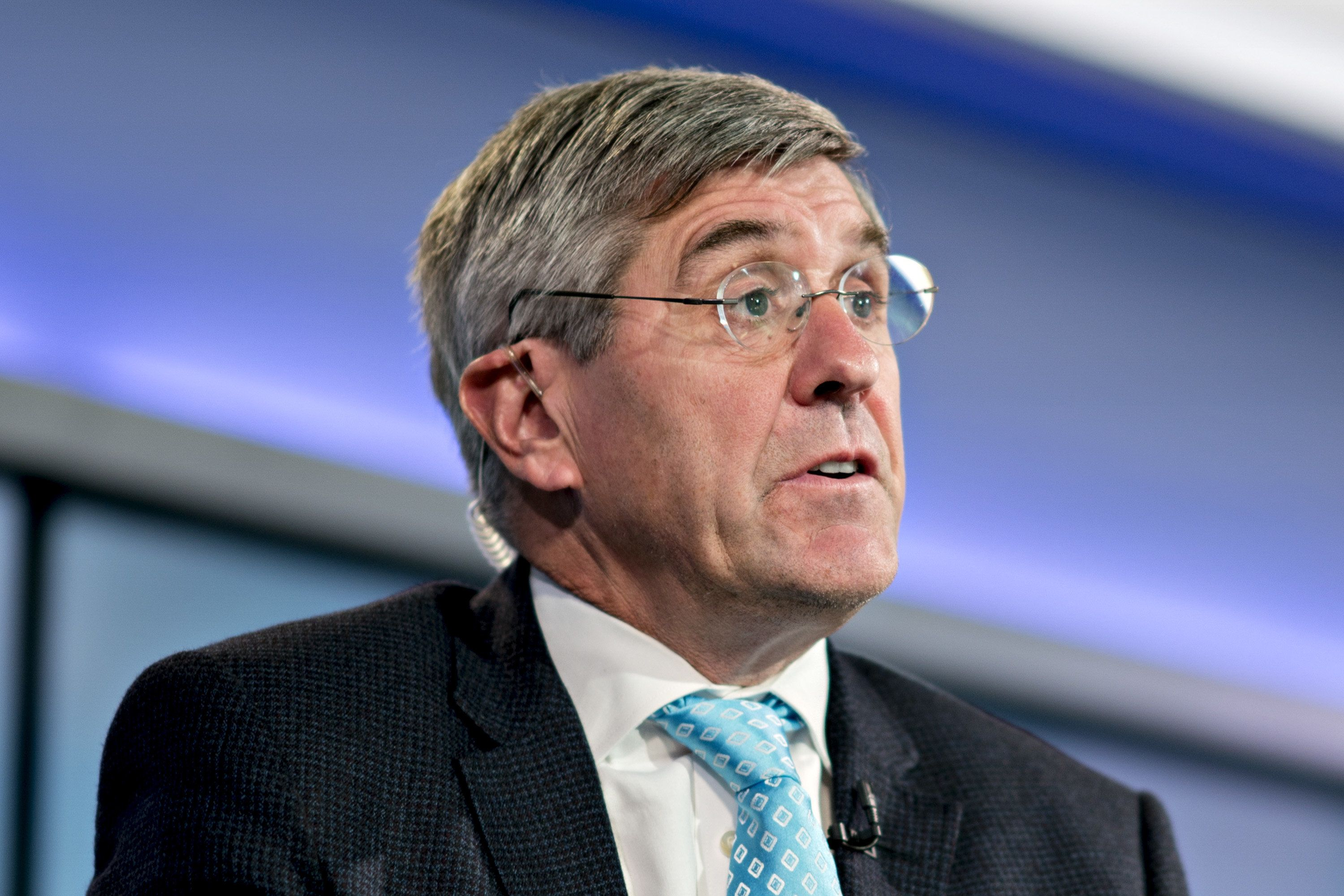 Stephen Moore, visiting fellow at the Heritage Foundation, speaks during a Bloomberg Television interview in Washington, D.C., U.S., on Friday, March 22, 2019. President Donald Trump said he's nominating Moore, a long-time supporter of the president, for a seat on the Federal Reserve Board. Photographer: Andrew Harrer/Bloomberg via Getty Images
