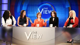SATURDAY NIGHT LIVE -- 'Emma Stone' Episode 1764 -- Pictured: (l-r) Leslie Jones as Whoopi Goldberg, Cecily Strong as Abby Huntsman, Kate McKinnon as Joy Behar, Melissa Villaseñor as Ana Navarro, and Aidy Bryant as Meghan McCain during 'The View' sketch on Saturday, April 13, 2019 -- (Photo by: Will Heath/NBC/NBCU Photo Bank via Getty Images)