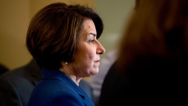 Democratic presidential candidate Sen. Amy Klobuchar, D-Minn., attends a news conference following a Senate policy luncheon on Capitol Hill, Tuesday, April 9, 2019, in Washington. (AP Photo/Andrew Harnik)