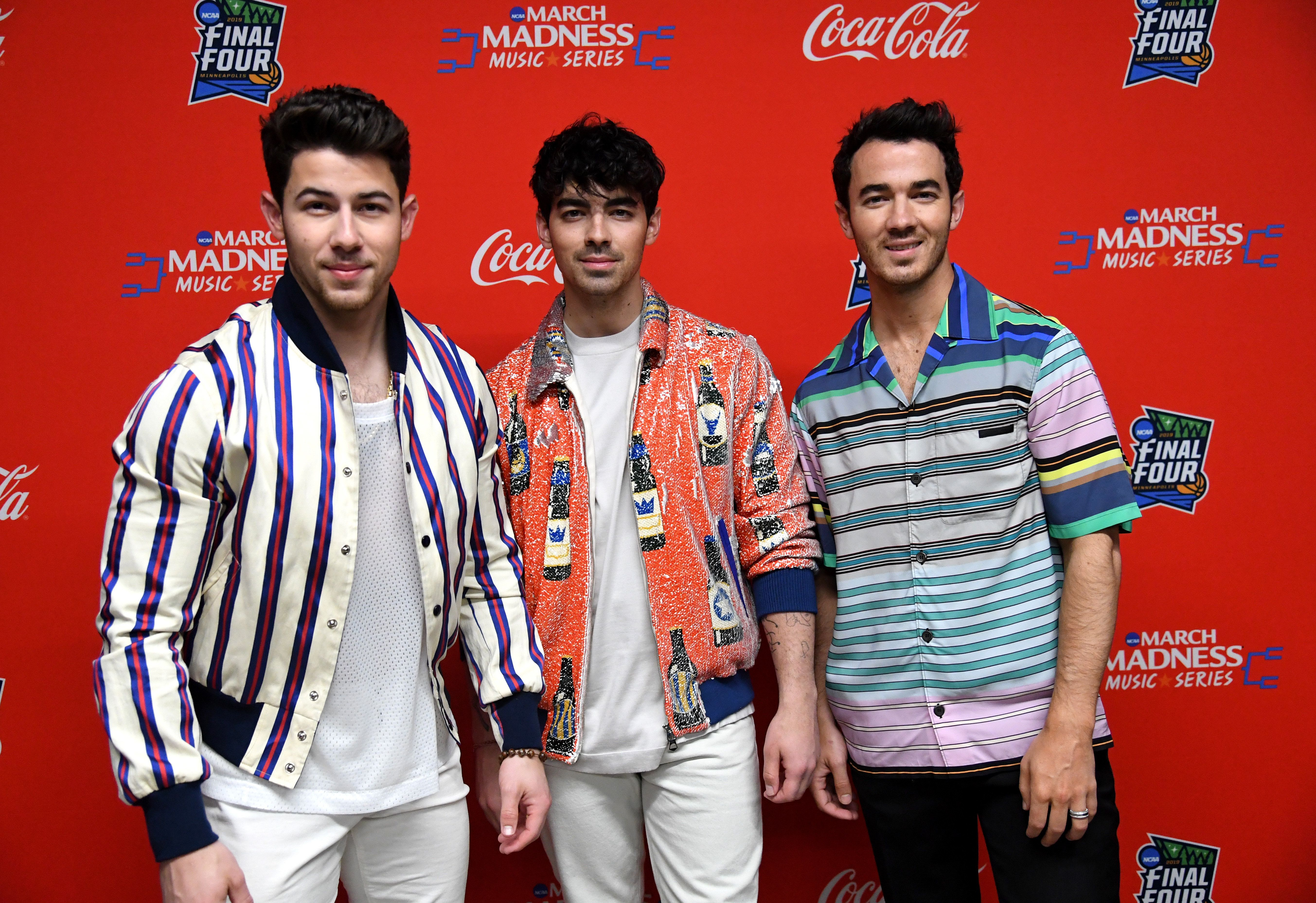 MINNEAPOLIS, MINNESOTA - APRIL 06: (L-R) Nick Jonas, Joe Jonas, and Kevin Jonas of the Jonas Brothers attend the March Madness Music Series featuring Jonas Brothers presented by Coca-Cola during the NCAA March Madness Music Series at The Armory on April 06, 2019 in Minneapolis, Minnesota. (Photo by Kevin Mazur/Getty Images for Turner Sports)