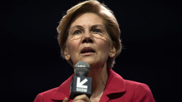 Senator Elizabeth Warren, a Democrat from Massachusetts and 2020 presidential candidate, speaks during the South By Southwest (SXSW) conference in Austin, Texas, U.S., on Saturday, March 9, 2019. Warren said breaking up giant tech companies would 'keep the marketplace competitive,' during an appearance at one of the biggest technology events in the U.S. Photographer: Callaghan O'Hare/Bloomberg via Getty Images