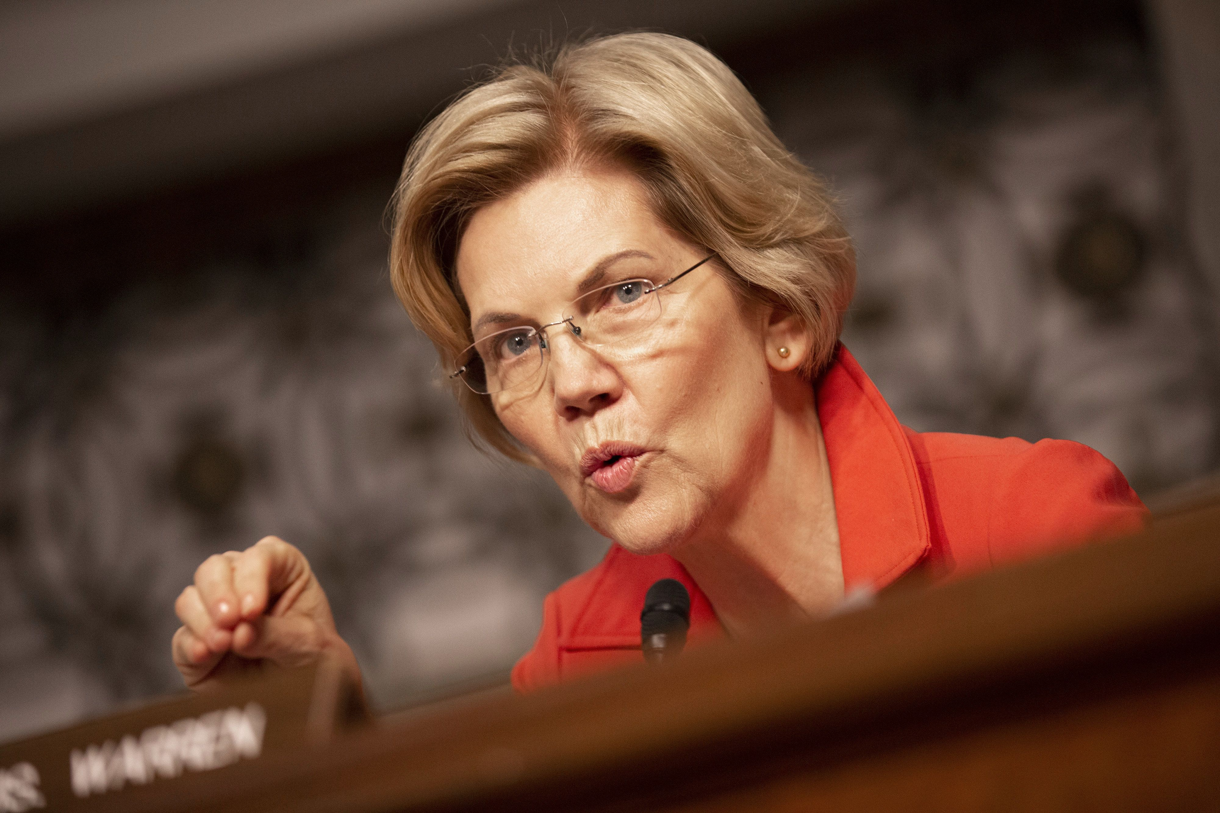 Senator Elizabeth Warren, a Democrat from Massachusetts, speaks during a Senate Armed Services Committee hearing in Washington, D.C., U.S., on Thursday, April 11, 2019. A slew of overlapping White House and Pentagon proposals to reshape U.S. military space operations, development and acquisition 'could present considerable challenges' to the Pentagon's effective functioning in the next war-fighting realm, according to a report from Congress's research arm. Photographer: Stefani Reynolds/Bloomberg via Getty Images
