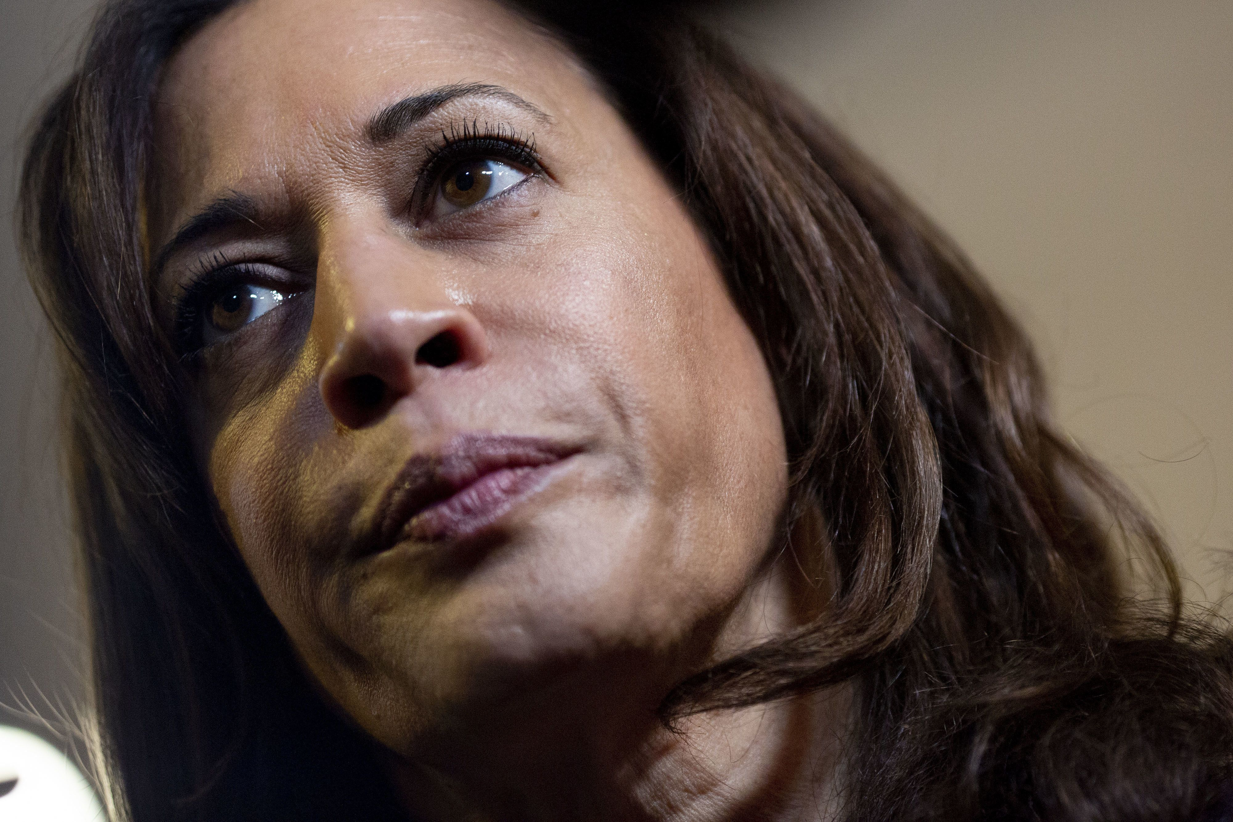 Senator Kamala Harris, a Democrat from California and 2020 presidential candidate, speaks to members of the media during a campaign event at a private residence in Des Moines, Iowa, U.S., on Thursday, April 11, 2019. Harris has said she raised $12 million from more than 218,000 individual contributions. Photographer: Daniel Acker/Bloomberg via Getty Images
