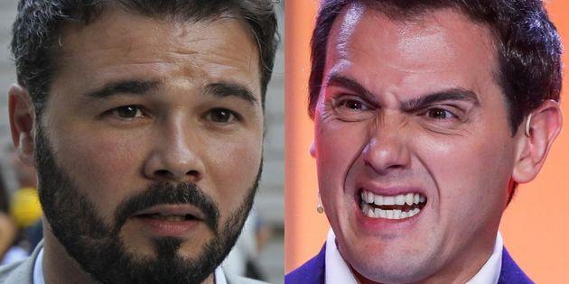 Gabriel Rufián y Albert Rivera, en sendas imágenes de