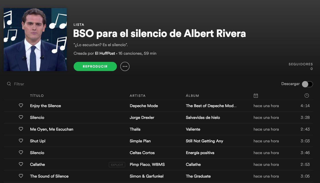 La banda sonora perfecta para llenar el silencio de Albert Rivera en el