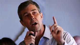 Democratic presidential candidate and former Texas Congressman Beto O'Rourke gestures while addressing guests during a campaign stop in Derry, N.H., Thursday, April 18, 2019. (AP Photo/Charles Krupa)