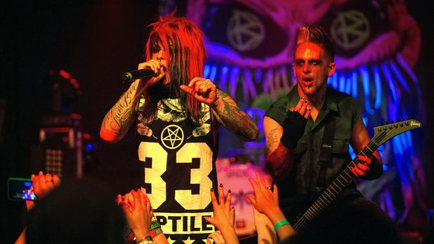 INDIANAPOLIS, IN - NOVEMBER 30:  Dahvie Vanity and guitarist Rocky Sobon of Blood On The Dance Floor performs onstage at The Emerson Theater on November 30, 2014 in Indianapolis, Indiana.  (Photo by Joey Foley/Getty Images)
