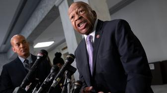 """House Oversight and Reform Committee Chair Elijah Cummings, D-Md., speaks to reporters about issuing subpoenas as part of his investigation of people in President Donald Trump's administration who were granted security clearances despite """"disqualifying issues"""" in their backgrounds, on Capitol Hill in Washington, Tuesday, April 2, 2019. (AP Photo/J. Scott Applewhite)"""