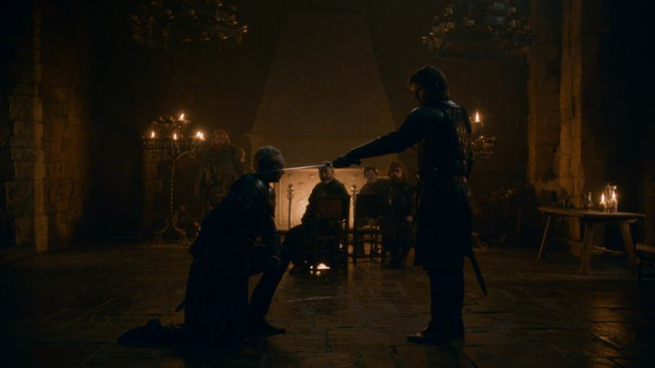 Jaime knighting Brienne in Season 8, Episode 2.