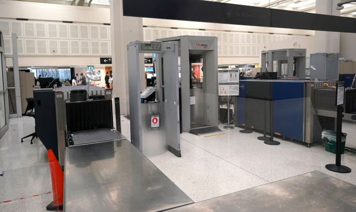A security checkpoint at the United terminal in Houston's George Bush Intercontinental Airport.