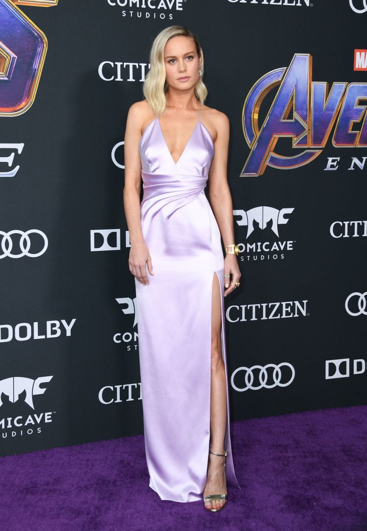 """Brie Larson wears lilac to the world premiere of Marvel Studios' """"Avengers: Endgame"""" at the Los Angeles Convention Center on"""