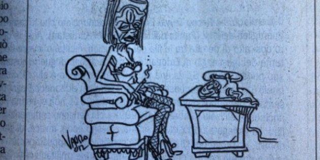 Vignetta Vauro su ministra squillo Elsa Fornero infuriata