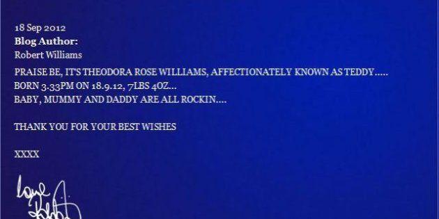 Robbie Williams diventa papàla moglie Aida ha partorito