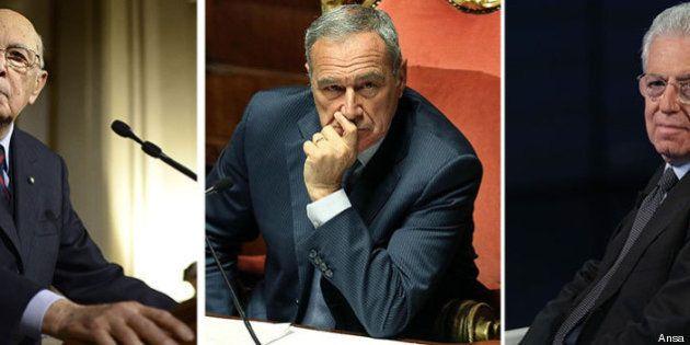 Governo: Piero Grasso, Giorgio Napolitano e Mario Monti difendono Enrico