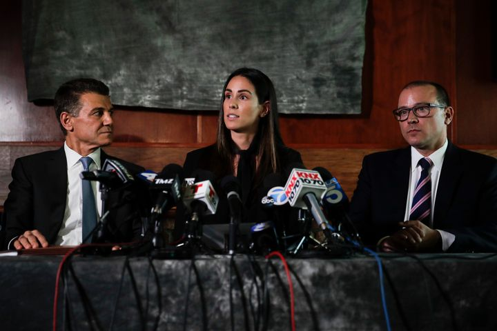 Former sports reporter Kelli Tennant speaks at a news conference Tuesday in Los Angeles about the lawsuit she filed Monday ac