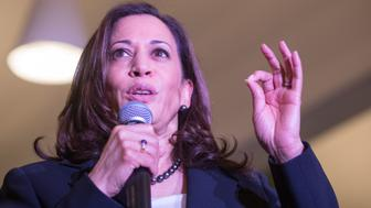 HANOVER, NH - APRIL 23:  Democratic Presidential candidate Sen. Kamala Harris (D-CA) speaks during a Town Hall at Dartmouth College on April 23, 2019 in Hanover, New Hampshire.  (Photo by Scott Eisen/Getty Images)