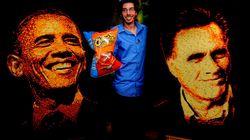 Obama e Romeny realizzati con le patatine