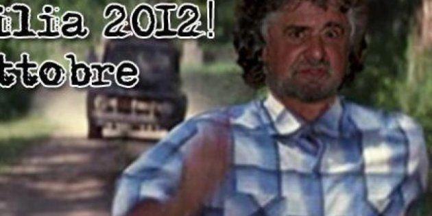 Beppe Grillo a nuoto, di corsa, in treno. Nell'innovativa campagna elettorale in Sicilia i Cinque Stelle...